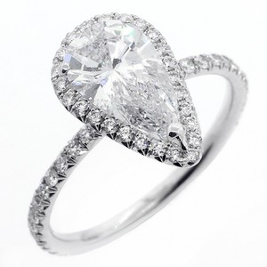 White 2.51 Cts Pear Shaped Diamond Set In 18k Gold Engagement Ring