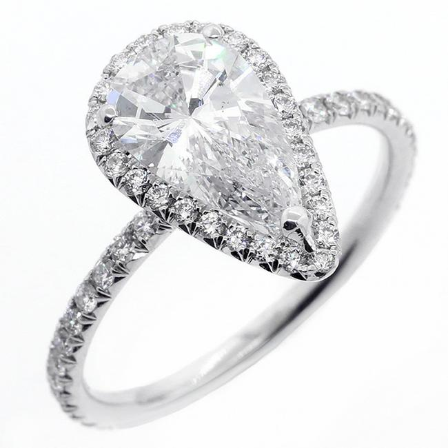 White 2.51 Cts Pear Shaped Diamond Set In 18k Gold Engagement Ring White 2.51 Cts Pear Shaped Diamond Set In 18k Gold Engagement Ring Image 1