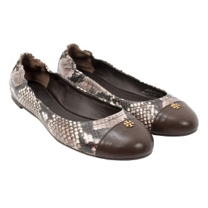 Tory Burch 32335 Brown, White & Coconut Flats