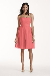 David's Bridal Coral Reef Short Strapless Tulle Dress With Full Skirt Dress