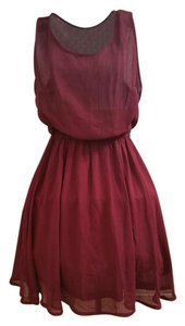 Divided by H&M short dress Merlot burgundy Summer Fall Sheer Flowy on Tradesy