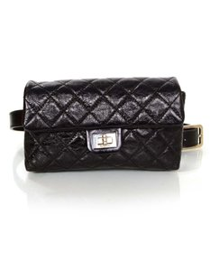 Chanel Chanel Black Distressed 2.55 Belt Bag Sz 36