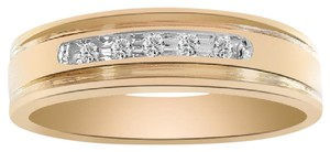 Avital & Co Jewelry 0.05 Carat Round Cut Brilliant Diamond Wedding Band 14k Yellow Gold