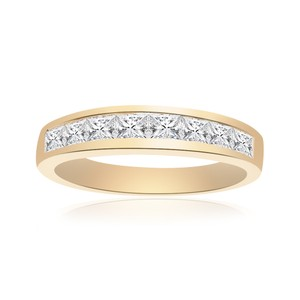 Other 1.00 Carat Princess Cut Brilliant Diamond Wedding Band 14k Yellow Gold