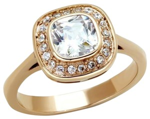 La Bella Rose Rose Gold Stainless Steel Clear CZ Ring - 07877