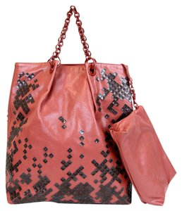 Bottega Veneta Leather Mosaico Sequin Laque Tote in Dark Rose