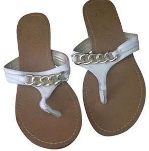 New York & Company White Gold Sandals