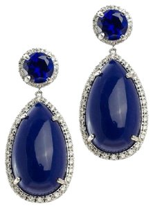 Kenneth Jay Lane Platinum Plated CZ Border Lapis Pear Drop Earrings NWT $188