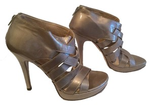 Stuart Weitzman Strappy Zipper All Leather Open Toe Taupe patent Platforms