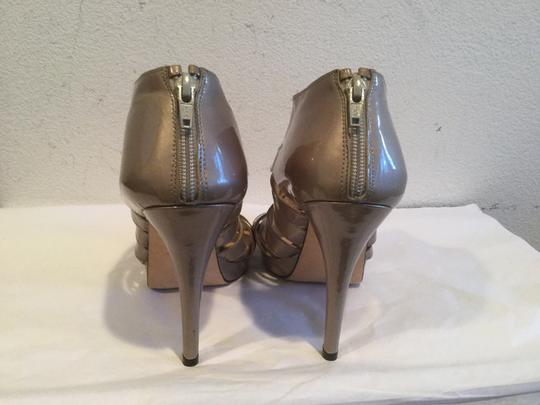 Stuart Weitzman Zipper Open Toe $18.50 REDUCTION NEW Taupe patent all leather strappy Platforms