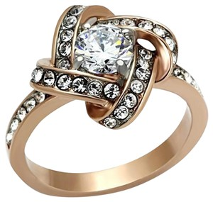 La Bella Rose Rose Gold Stainless Steel Clear CZ Knot Ring - 07162
