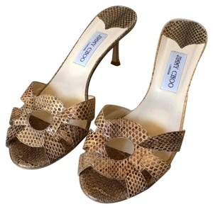 Jimmy Choo Tan and brown snake print Pumps