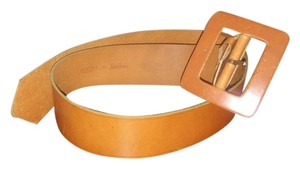 WCM Large tan leather WCM for Neiman Marcus belt