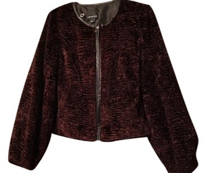 Trouvé Faux Front Fur Anthropologie Party Burgundy Jacket