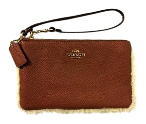 Coach Wristlet in Shearling/Natural Leather