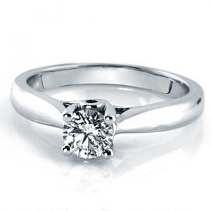 0.50 Cts 4 Prong Solitaire Diamond Engagement Ring 14kt White Gold