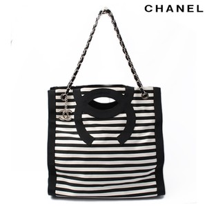 Chanel Vintage Stripe Tote Rare Shoulder Bag