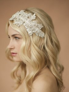 Mariell Sculptured Ivory Lace Swarovski Wedding Headband With Crystals & Beads 4099hb-i
