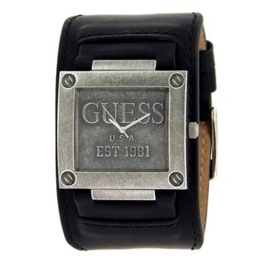 Guess Guess Men's Black Leather Cuff Watch W0418G2