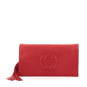 Gucci Leather Red Clutch