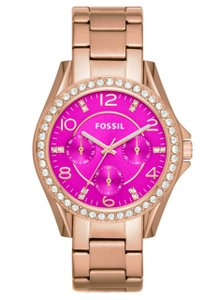 Fossil Fossil Rile Women's Rose Gold Magenta Dial Watch ES3531