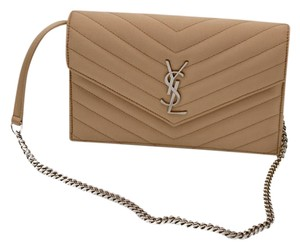 Saint Laurent Satin Chain Leather New NUDE Clutch