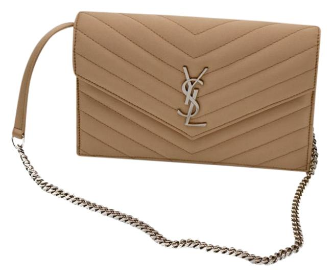 Item - Chain Wallet Monogram Quilted Envelope Nude Satin Clutch