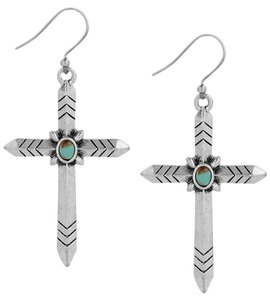 Lucky Brand Lucky Brand Silver Tone Blue Stone Cross Drop Earrings NWT $29