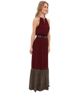 Red Black Maxi Dress by Michael Kors Chain Detail Maxi