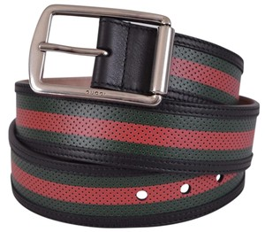 Gucci Gucci Men's 295331 Red Green Stripe Perforated Leather Belt 40 100