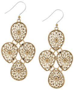 Lucky Brand Lucky Brand Gold Tone Open Work Teardrop Chandelier Earrings NWT $35