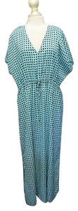 turquoise, navy, white Maxi Dress by MICHAEL Michael Kors Drawstring Waist Maxi