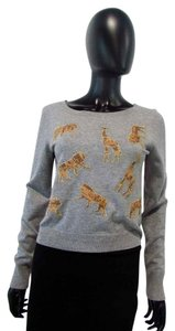 Diane von Furstenberg Silk Blend Animal Cropped Sweater
