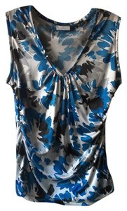 New York & Company Top Blue/Blk/Wht