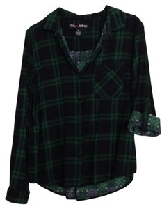 Polly & Esther Top Navy & Green Plaid
