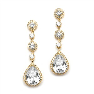 Mariell Gold Pear Shaped Drop Bridal Earrings With Pave Cz - 400ec-cr