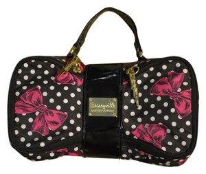 Betsey Johnson Polyester Patent Tote in Black, Pink, White Polka Dot