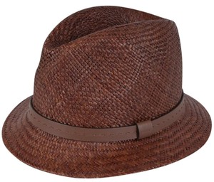 Gucci Gucci Men's 368359 BROWN Straw Leather Logo Panama Fedora Hat L