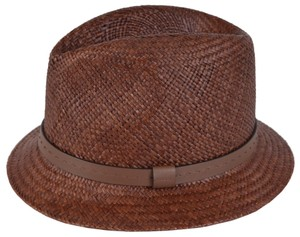 Gucci Gucci Men's 368359 BROWN Straw Leather Logo Panama Fedora Hat S