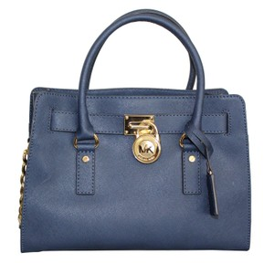 Michael Kors Safiano Leather Satchel in Blue