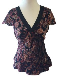 Ann Taylor LOFT Silk Cap Sleeve Floral Top Black and Purple