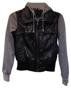 LA Hearts Faux Leather Hooded Lined Black/Gray Leather Jacket
