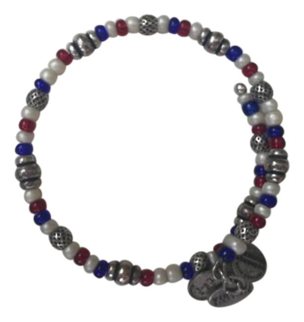 Item - Red White Blue with Silver & Beaded Bangle Bracelet