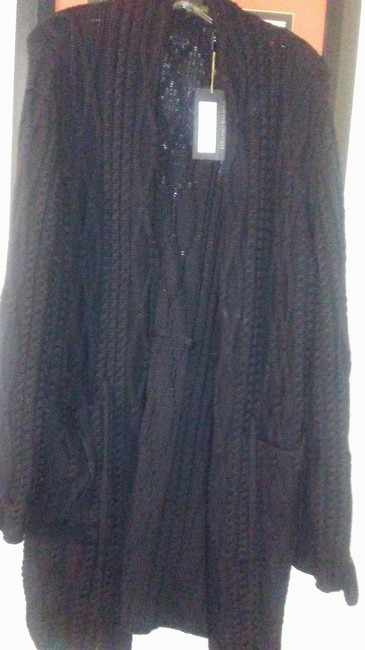 Item - Black Long Knitted Sweater Coat Size 14 (L)