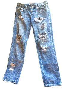 Bullhead Denim Co. Ripped Acid Wash Boyfriend Cut Jeans-Distressed