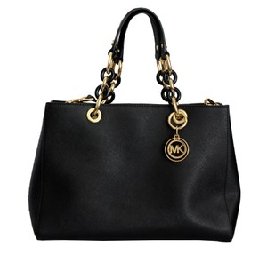 Michael Kors Saffiano Leather Satchel in Black