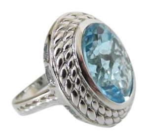 Colleen Lopez Colleen Lopez Sterling Silver Oval Gemstone Ring 7