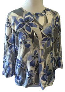 Alfred Dunner Casual Floral 3/4 Sleeve Top Blue, Gray and White