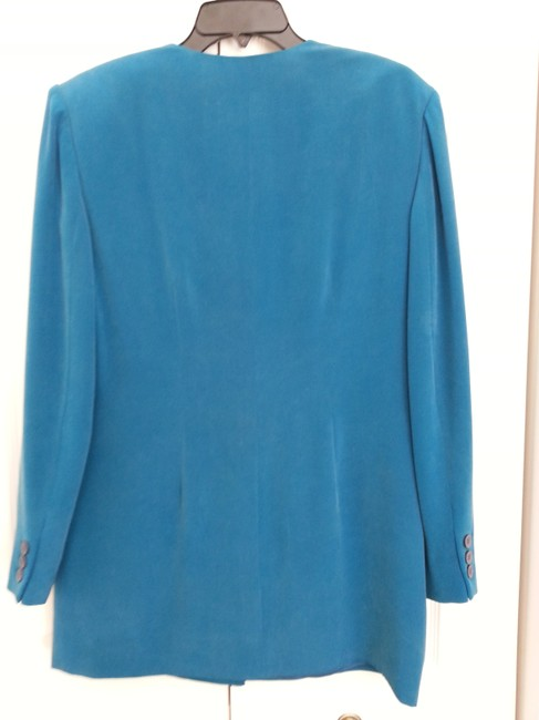 August Silk Breautiful Brushed Turquoise Silk Pant Suit