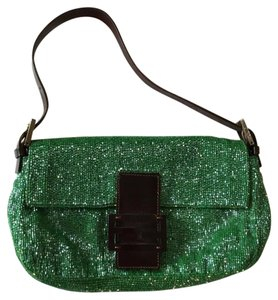 Fendi Green Beaded Vintage Baguette
